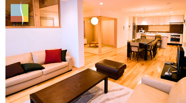 evening living, dinning, japanese room and kitchen
