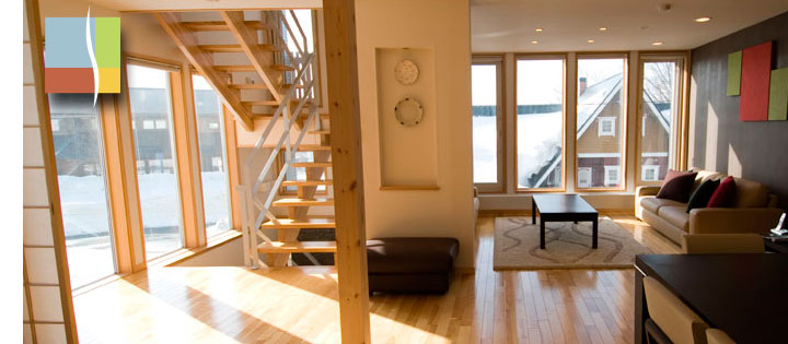 sunny morning lighting up the lounge and stairwell
