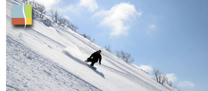 snowboarding on annupuri in early spring