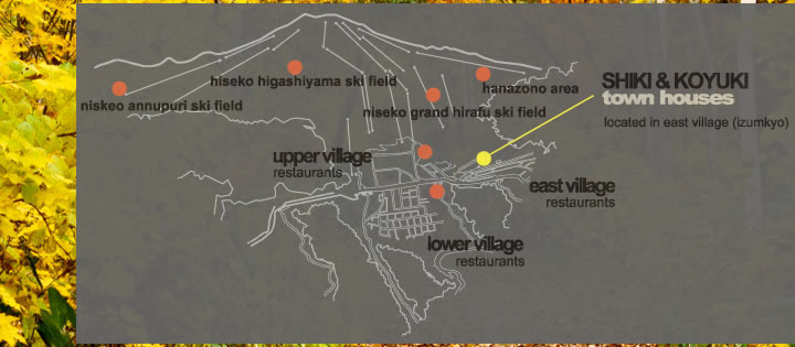map of apartment location in hirafu village